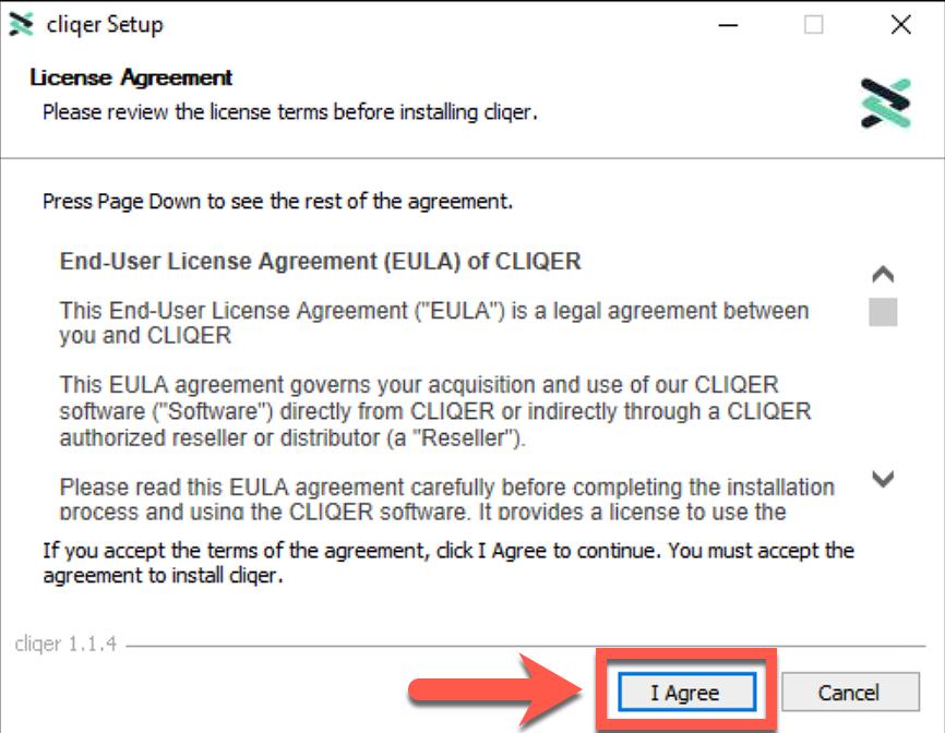 Cliqer Installation Windows Step 02